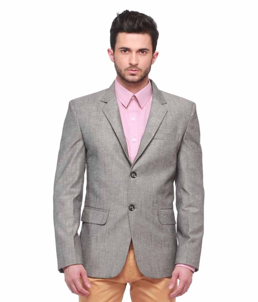 Jogur Grey Solid Casual Blazers