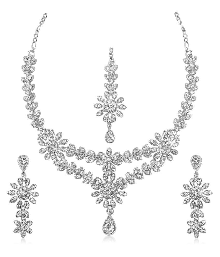 VK Jewels Sets Rhodium Plated Alloy  Necklace for Women & Girls
