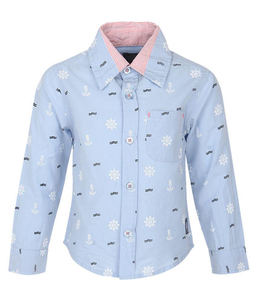 Nauti Nati Blue Cotton Baby Shirts