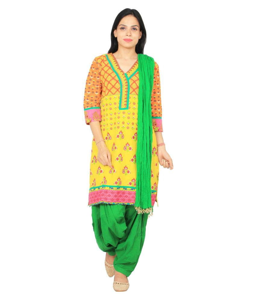 Rama Yellow Cotton Straight Stitched Suit