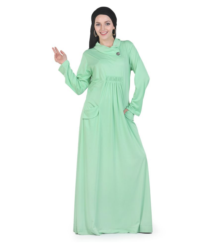 Momin Libas Green Polyester Stitched Burqas without Hijab