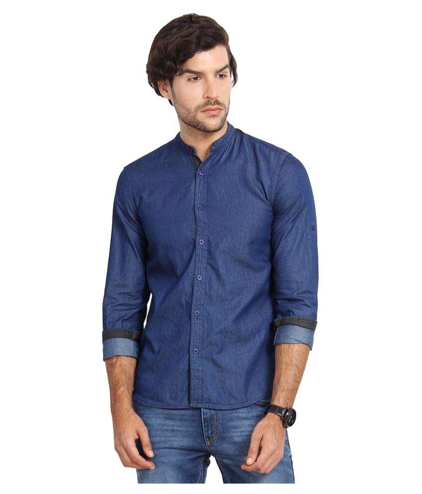 Slub Blue Casuals Regular Fit Shirt