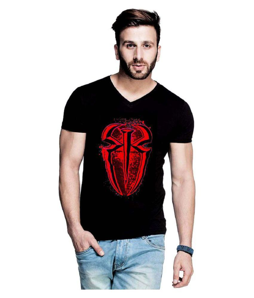 WWE Black V-Neck T-Shirt