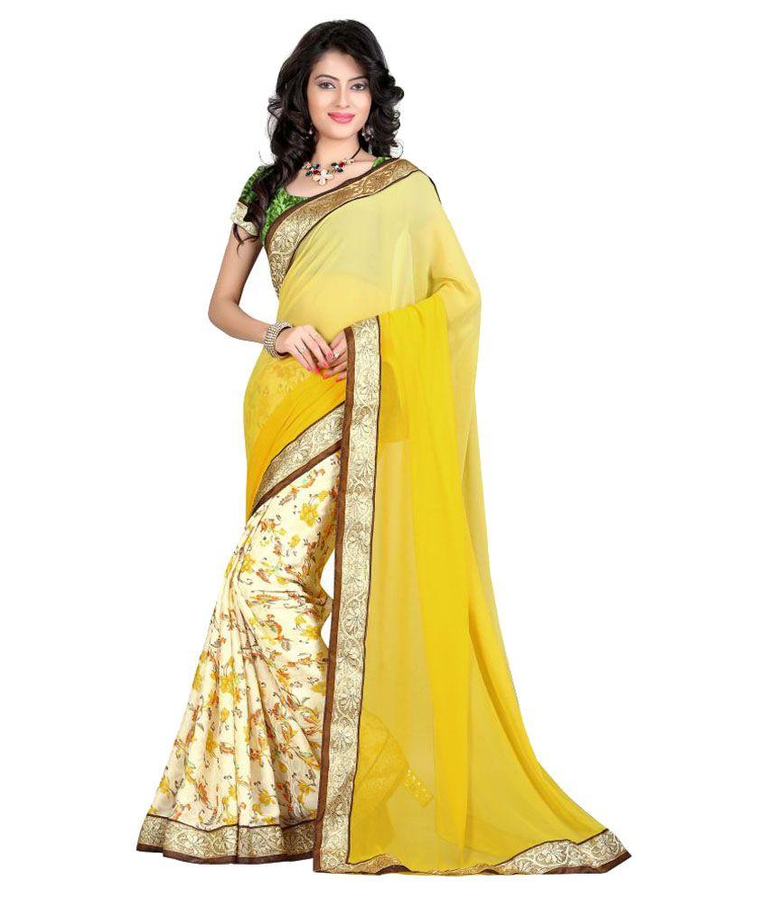 Style Kart Yellow Silk Saree