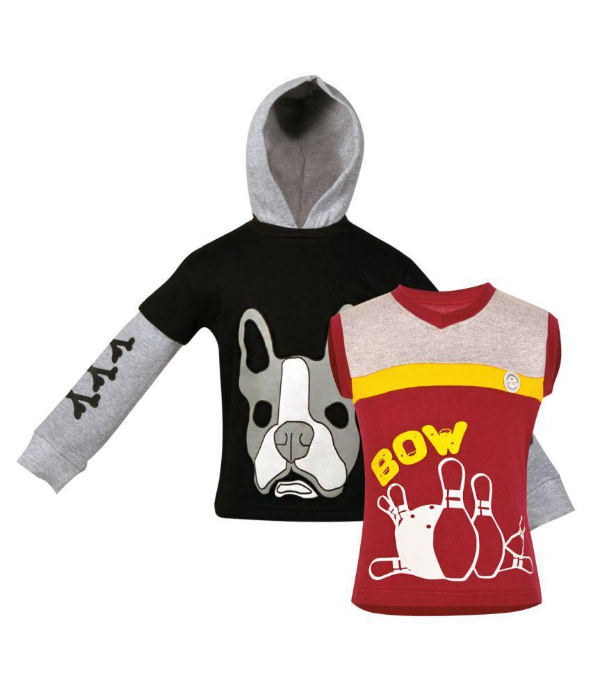 Gkidz Girls Multicolor Fleece Sweatshirt - Pack of 2