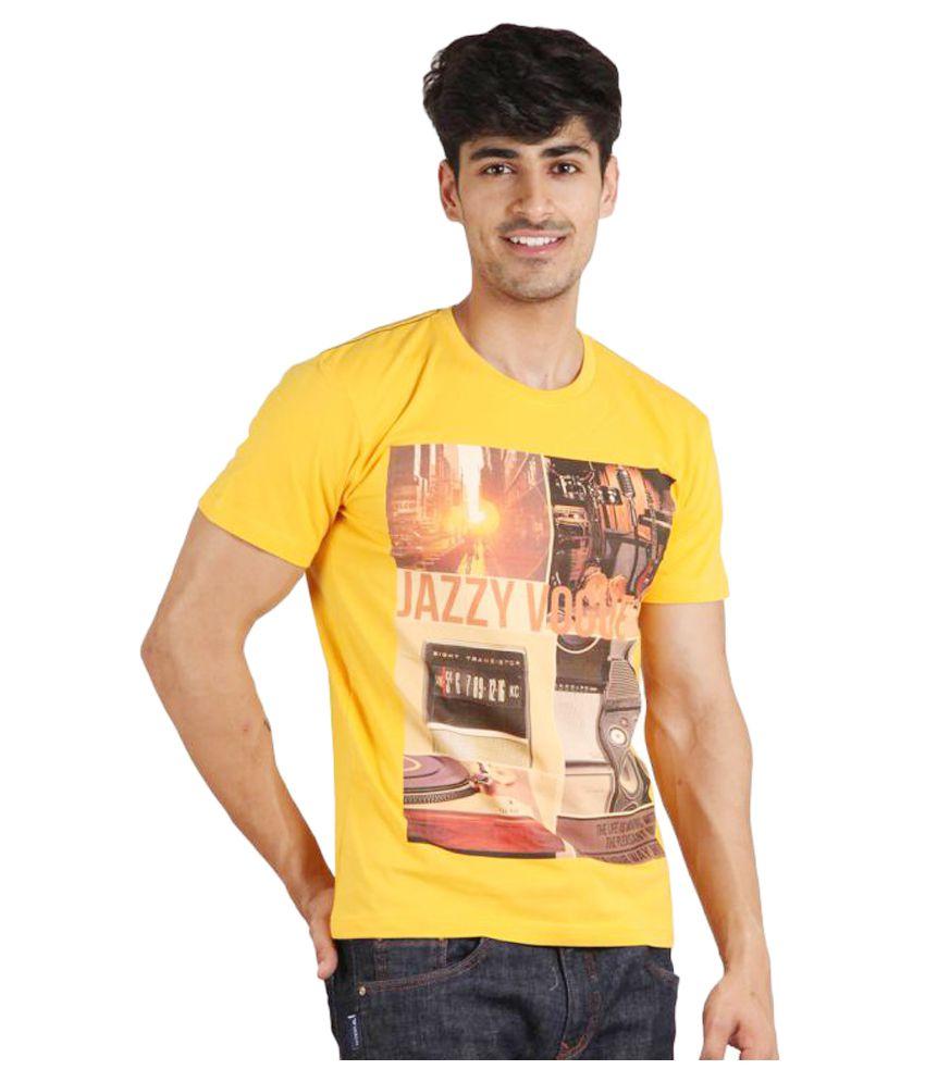 Jazzy Vogue Yellow Round T-Shirt