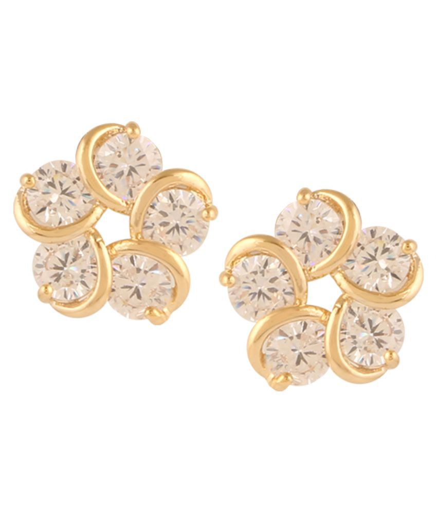 Pooja Gold Plated American Diamond Stud Earrings