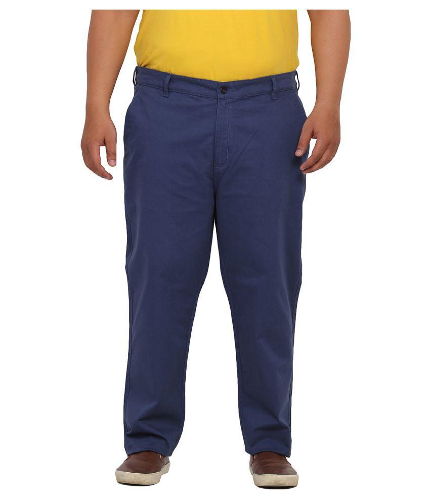 John Pride Blue Regular Flat Trouser
