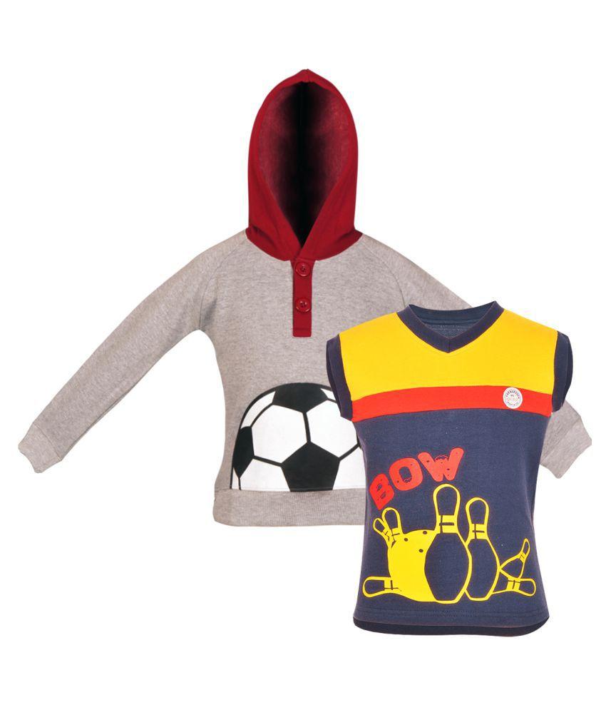 Gkidz Pack Of 2 Girls Multicolor Fleece Sweatshirt Combo