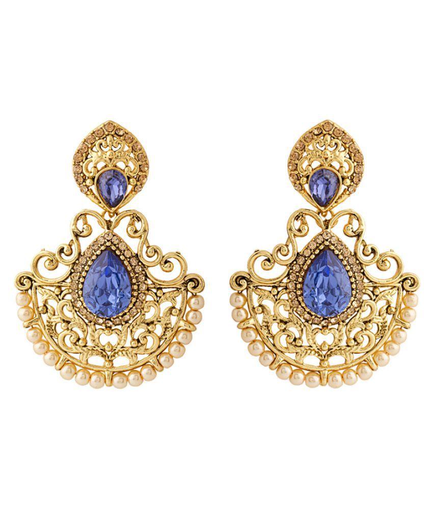 Voylla Blue Stone Studded Hanging Earrings