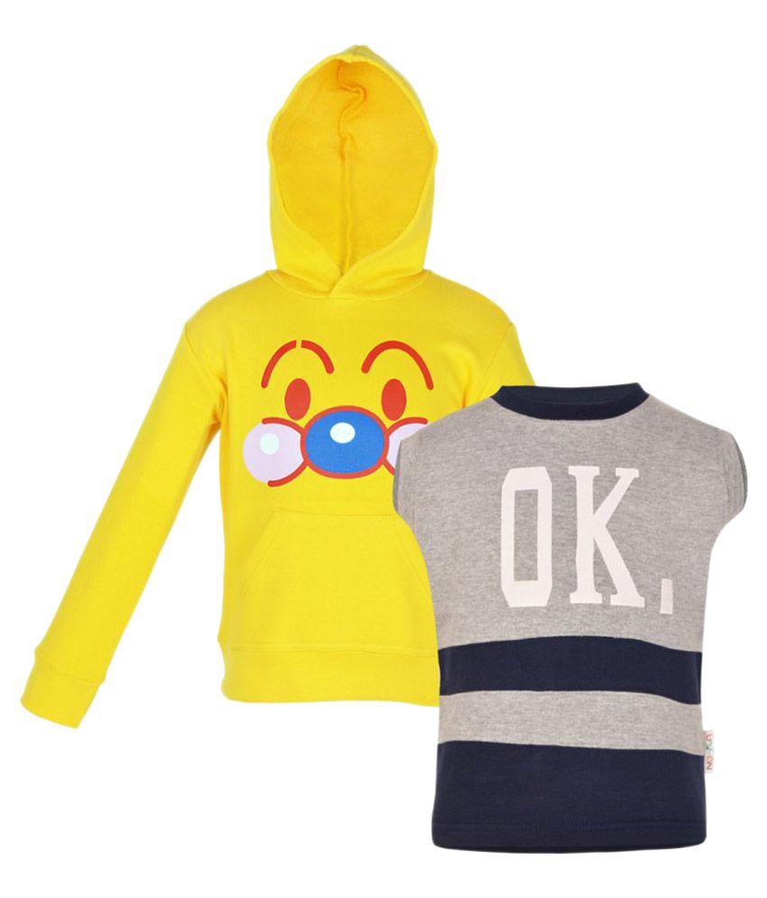 GKIDZ Multicolor Fleece Sweatshirt Combo Pack of 2