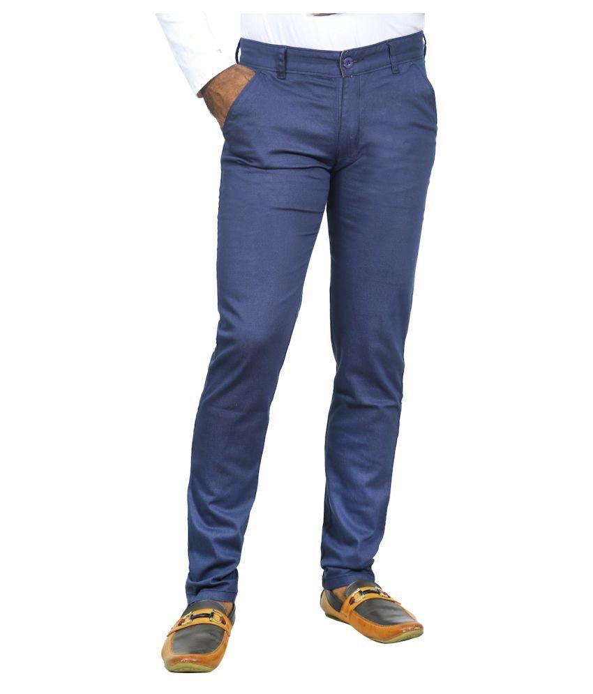 Burbn Navy Blue Slim Flat Trouser
