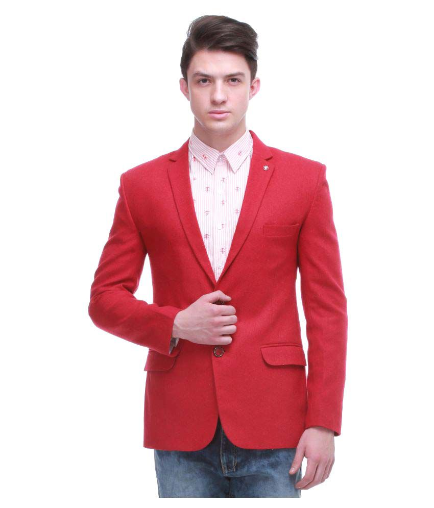 Jogur Red Solid Casual Blazers