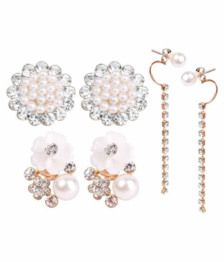 Takspin White Earrings - Set of 3