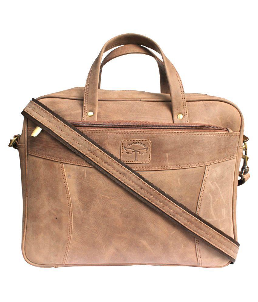 Tamanna Tan Leather Office Bag