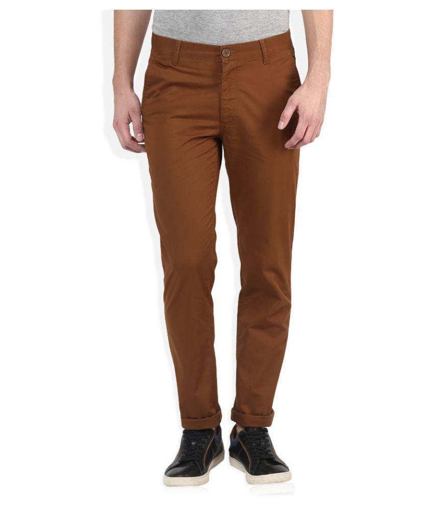 John Players Brown Slim Flat Trouser