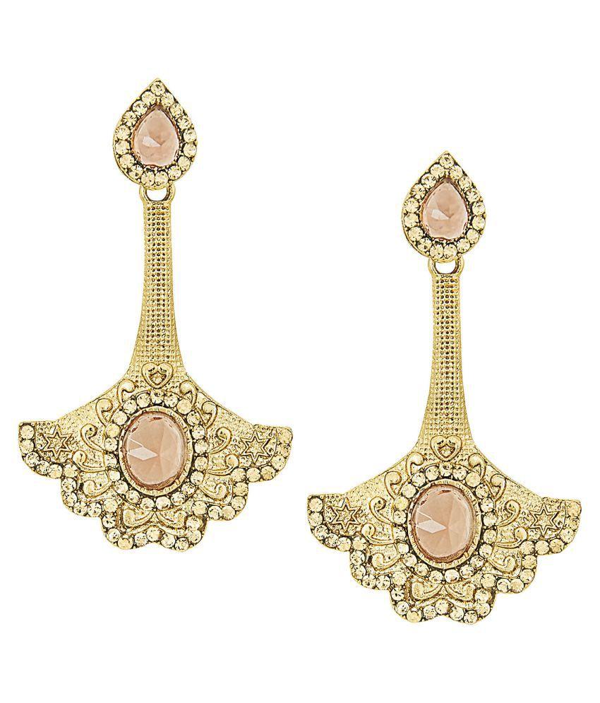 Shining Jewel Golden Hangings Earrings