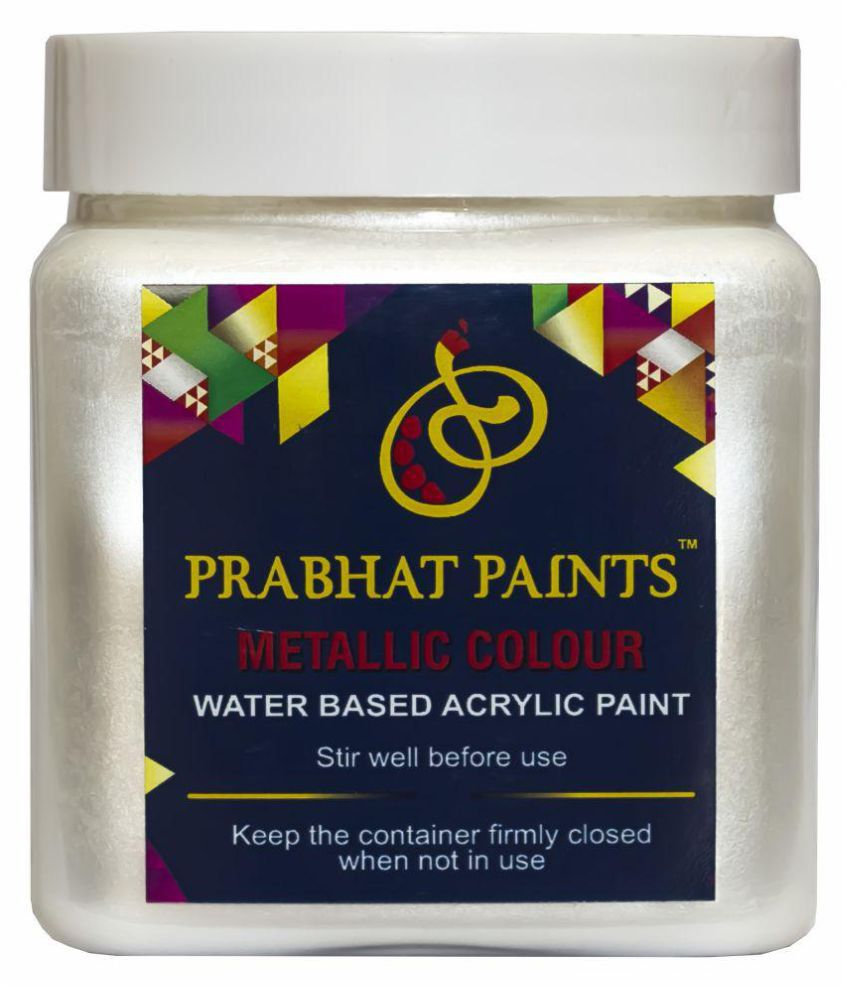Prabhat Paints Acrylic Metallic Colour / Pearl Colour (500 gm, Moti White) (Water based paint)