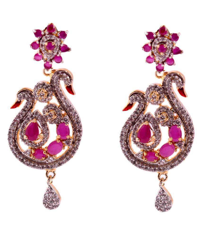 Dls Dark Pink Drop Earrings