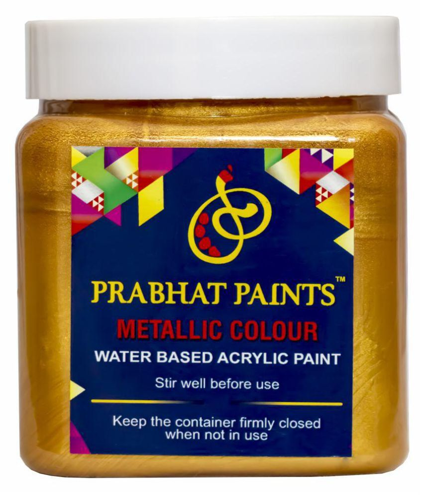 Prabhat Paints Acrylic Metallic Colour / Pearl Colour (500 gm, Mandir Gold) (Water based paint)