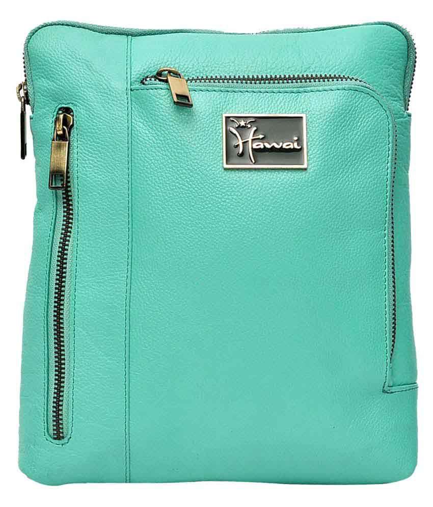 Hawai Green Leather Office Messenger Bag