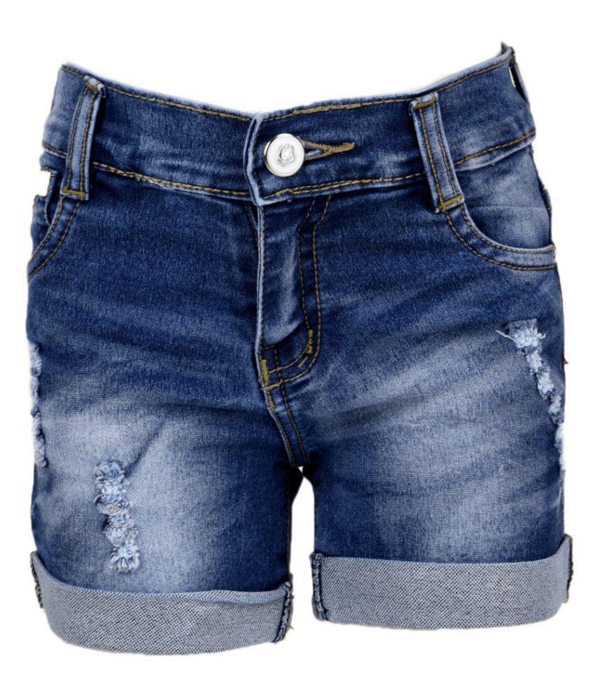 MSG  Blue Cotton Blend Shorts