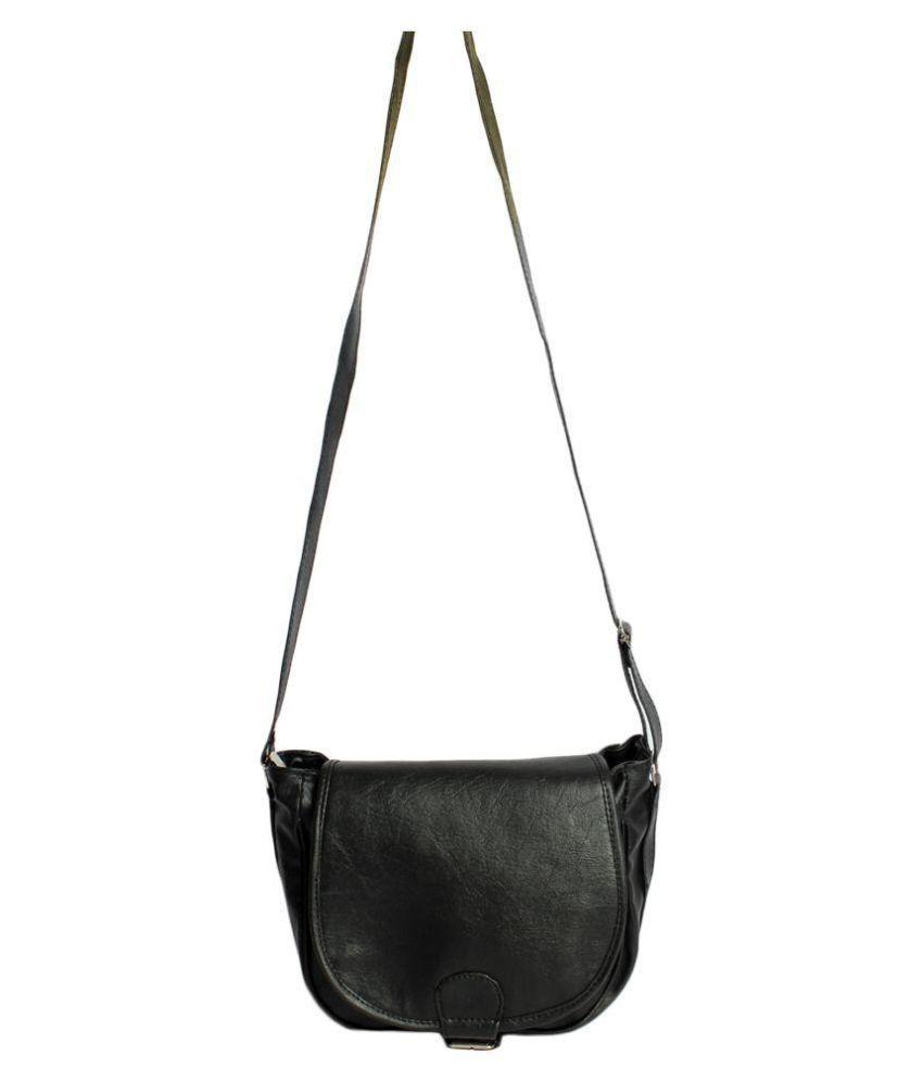 Good Life Stuff Black Faux Leather Sling Bag