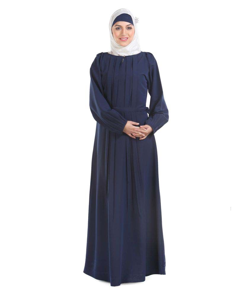 Momin Libas Navy Polyester Stitched Burqas without Hijab