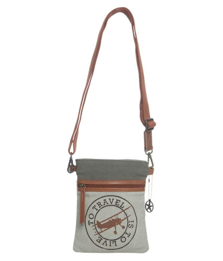Ninja Girl Gray Canvas Sling Bag