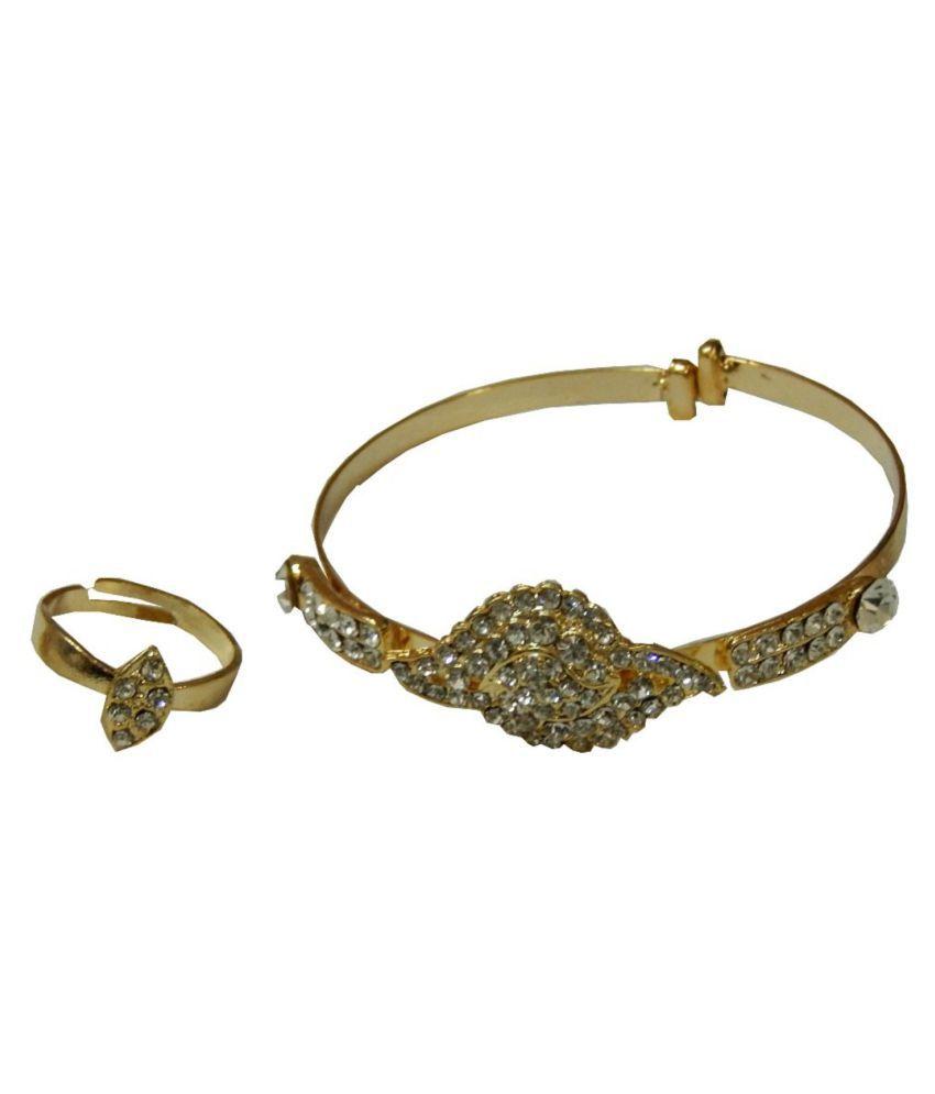 Navaksha Golden White Micro Stone Designer Bracelet With Ring