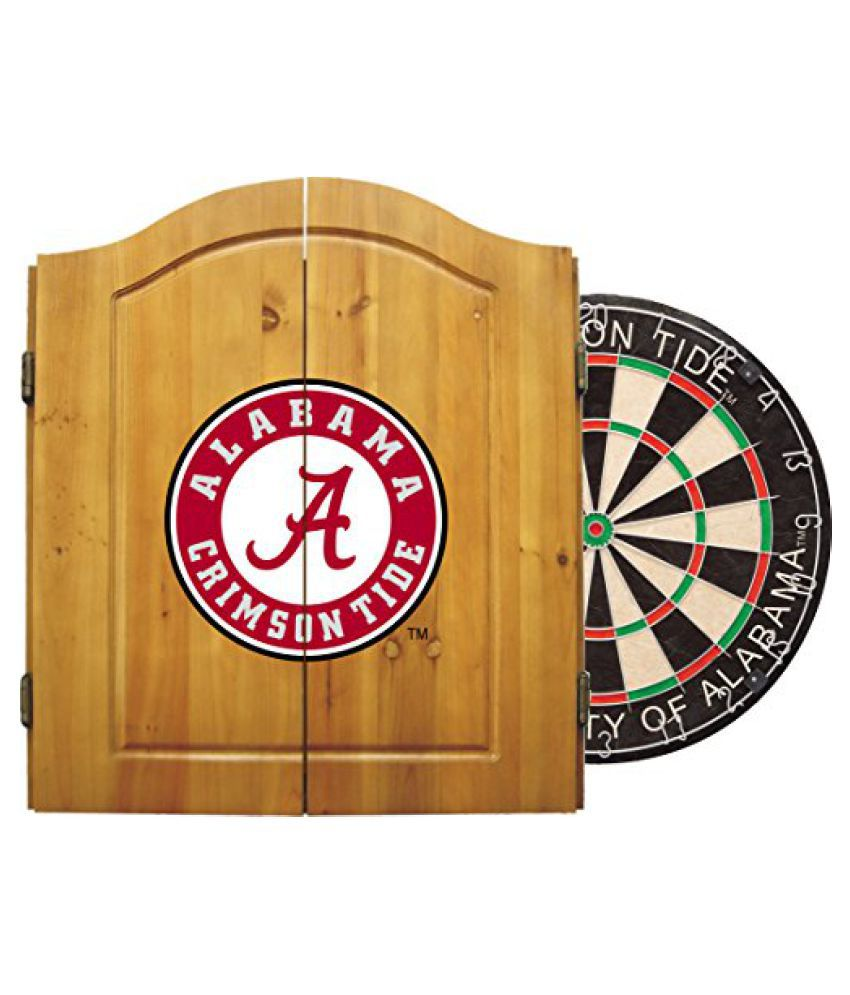 Imperial Officially Licensed NCAA Dart Cabinet Set with Steel Tip Bristle Dartboard, Alabama Crimson