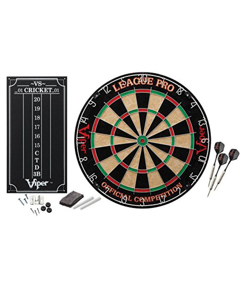 Viper League Pro Sisal/Bristle Dartboard with Staple-Free Bullseye and Cricket Scoreboard Kit