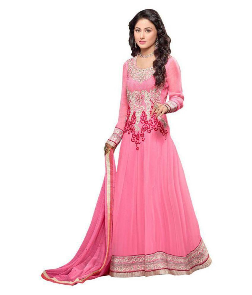 Ethnicvilla Pink Georgette Dress Material