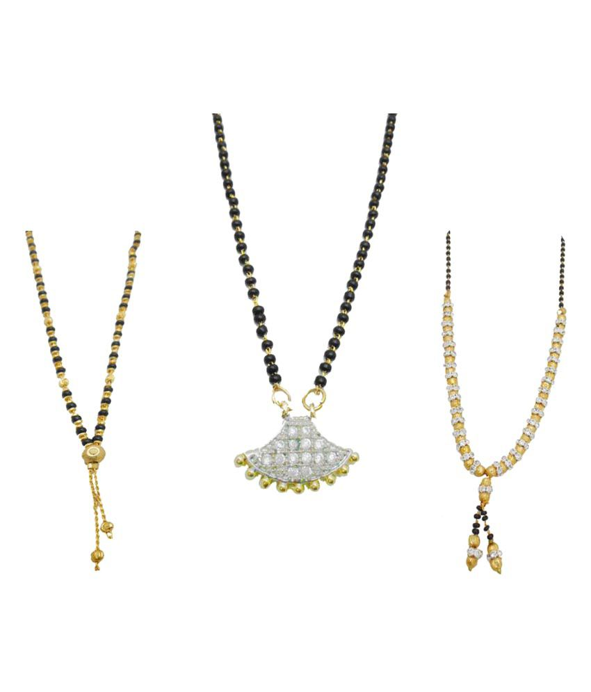 My Design Multicolour Alloy Gold Plated White Stone Set Of 3 Combo Mangalsutra For Women