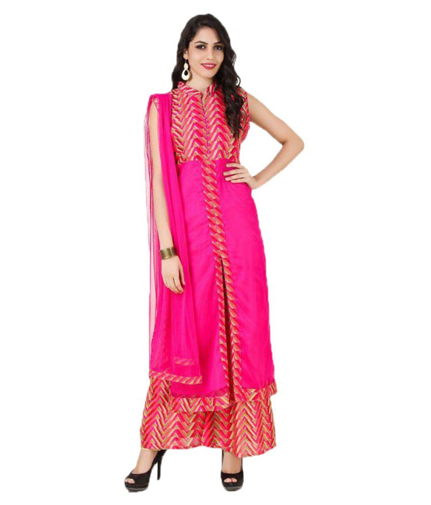 Fasense Pink Net Straight Stitched Suit