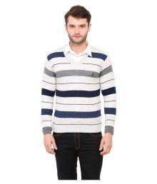 Duke White V Neck Sweater