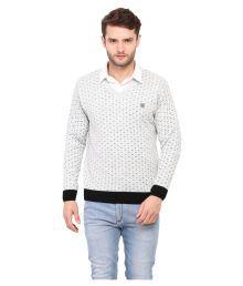 Duke White V Neck Sweater - 628144374814