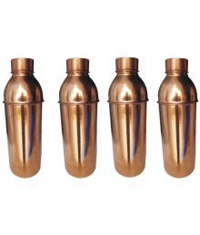 Veda Home & Lifestyle Veda Copper Bottles Brown 3000 Fridge Bottle Set Of 4
