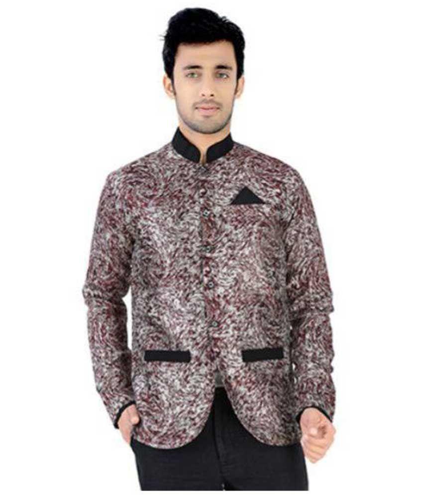 Nu Abc Garments Maroon Printed Wedding Blazer For Mens