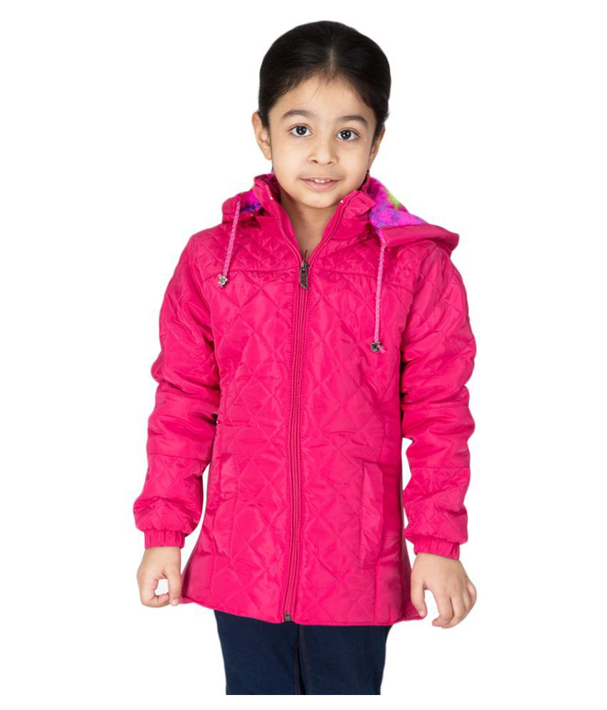 Burdy Full Sleeve Hooded Regular Fit Polyester Solid Bomber Jacket for Girl's (7-8) Years