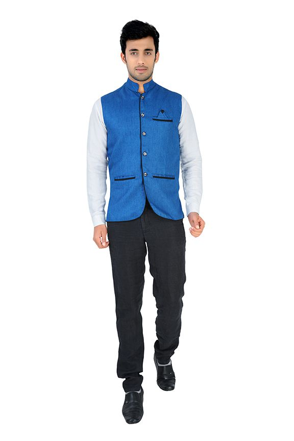 Nu Abc Garments Blue Nehru Jacket For Men