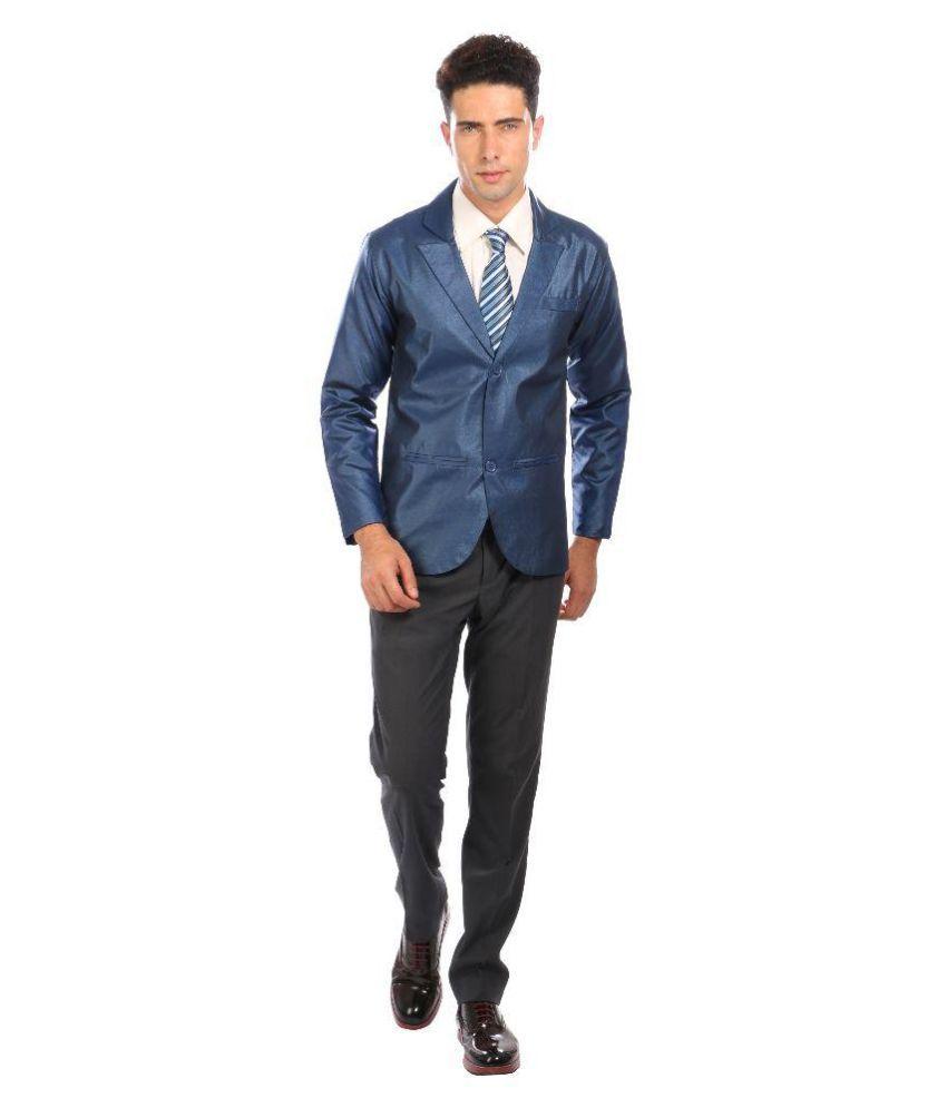 Nu Abc Garments Blue Solid Wedding Tuxedo