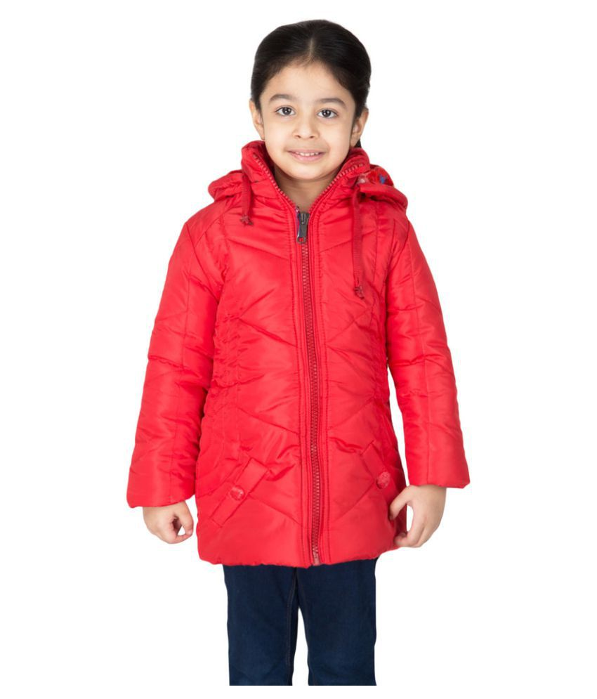 Burdy Full Sleeve Hooded Regular Fit Polyester Solid Bomber Jacket for Girl's (5-6) Years