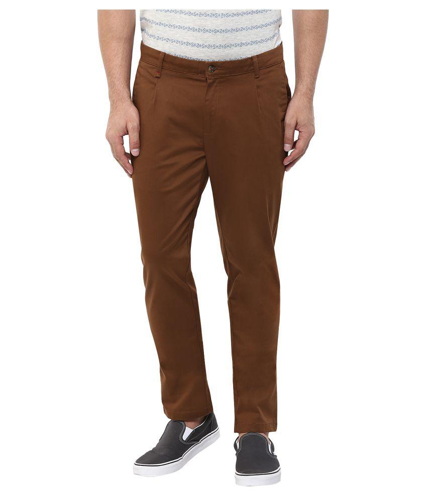 Monteil & Munero Brown Slim Flat Trouser