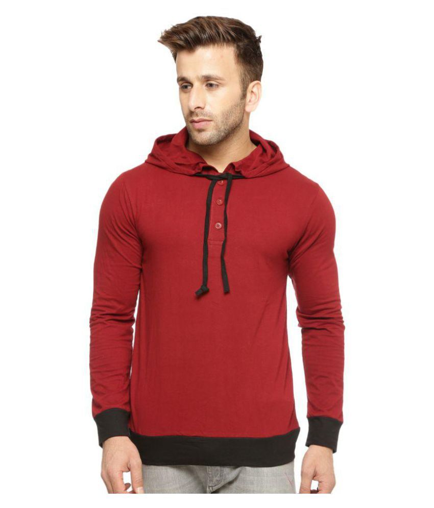 Gritstones Maroon Hooded T-Shirt