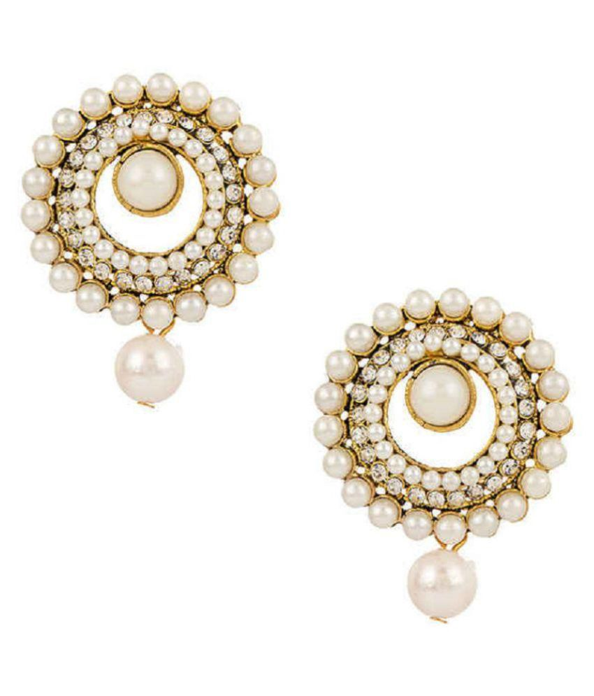 Reeti Fashions White Pearl Hanging Earrings