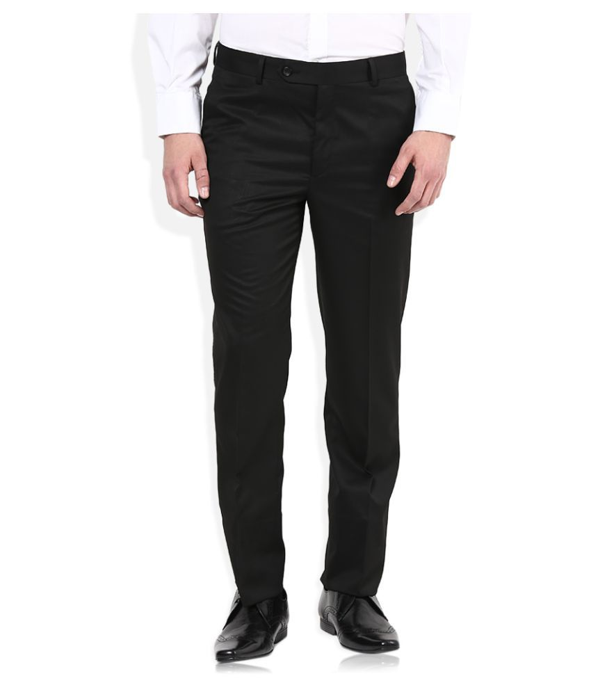 John Players Black Regular Flat Trouser