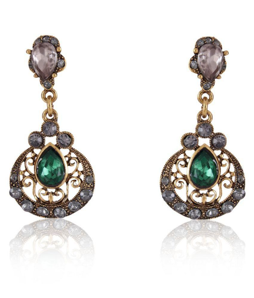 Cinderella Fashion Jewelry Green Alloy Hangings Single Pair