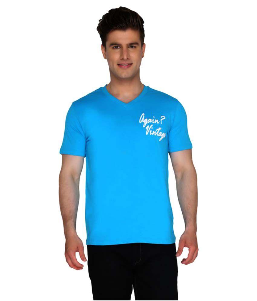 Again? Vintage Blue V-Neck T-Shirt