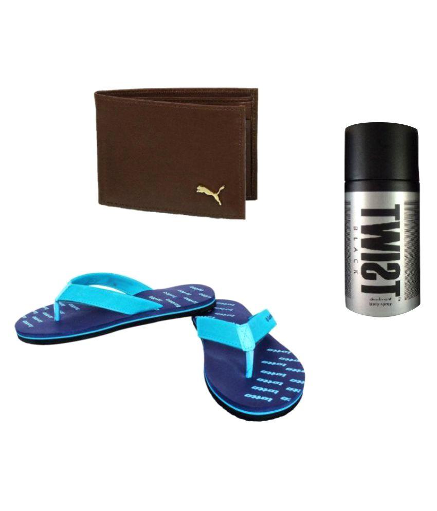Combo-lotto blue - brown wallet - black deodrant